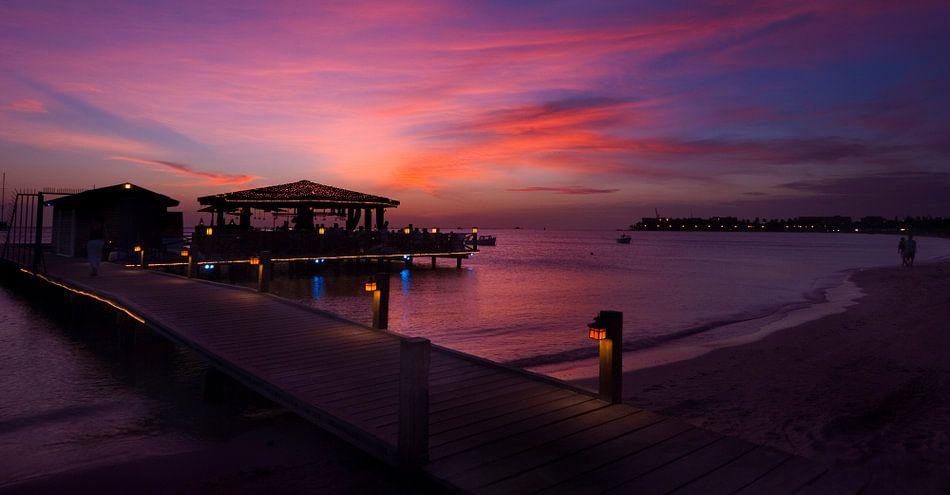Zonsondergang Aruba Marina van M DH