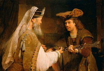 Ahimelech schenkt David das Schwert des Goliath, Aert de Gelder