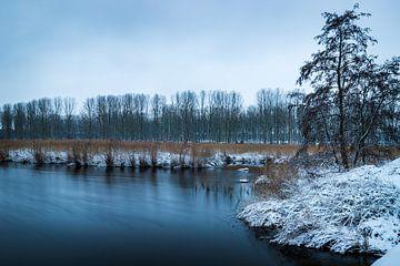 Winters landschap aan de kreek in Axel van Wesley Kole