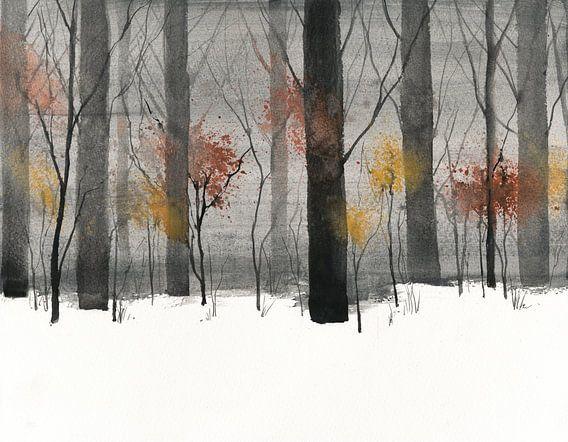 Bäume im Schnee van Jitka Krause