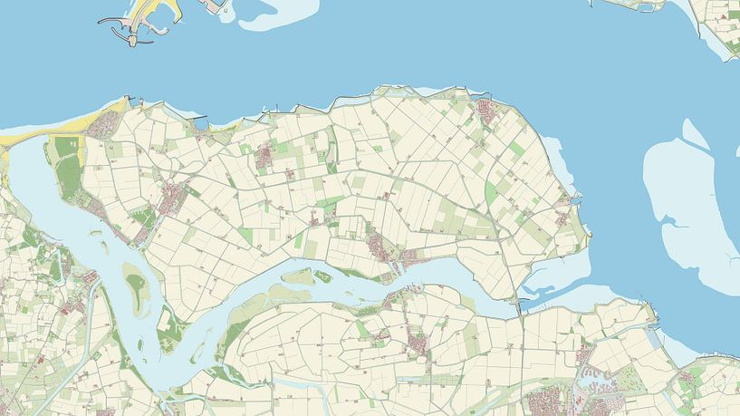 Kaart vanNoord-Beveland van Rebel Ontwerp