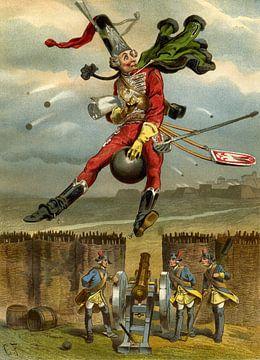 Gottfried Franz, Münchhausen überfliegt eine Kanonenkugel - 1896