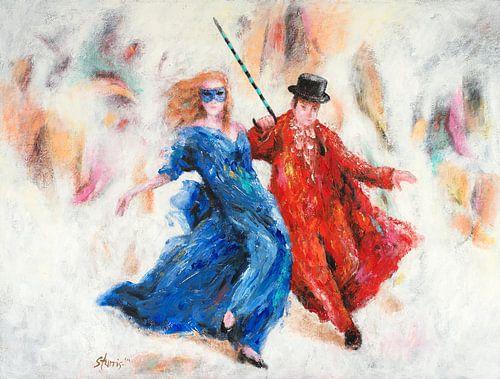 Dansen in blauw en rood