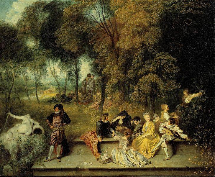 Antoine Watteau - Pleasures of Love van 1000 Schilderijen