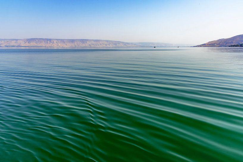 Close-up van het helder water in de zee van Tiberias (zee van Galilea ) in Israël van Rita Phessas