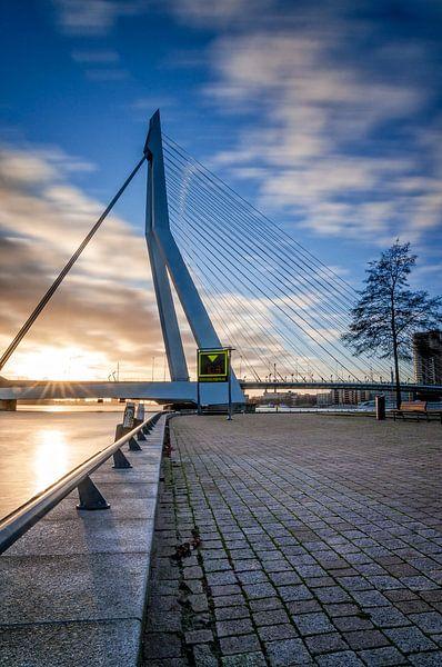 Zonsondergang achter de Erasmusbrug in Rotterdam van Mark De Rooij