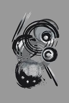 Dynamische Kunst Nr. 3 silber - Flippig von Melanie Viola
