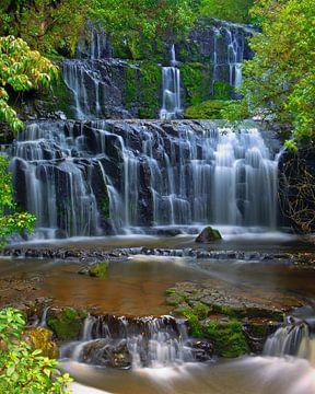 Purakaunui Falls, Zuider Eiland, Nieuw Zeeland van Henk Meijer Photography