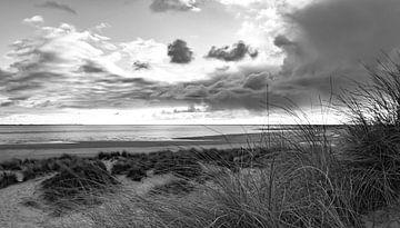 Strand en duinen in zwart-wit van Marjolein van Middelkoop