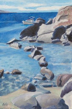 Strand von Mikonos von Antonie van Gelder Beeldend kunstenaar