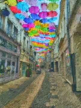 Regenschirme in Laon von Greta Lipman