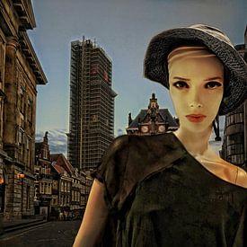 Vrouw bij valavond in Utrecht van Ruben van Gogh