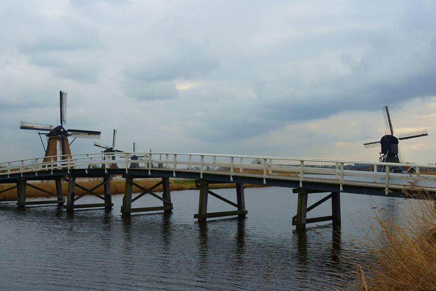 Brug en Molens in Kinderdijk van Michel van Kooten