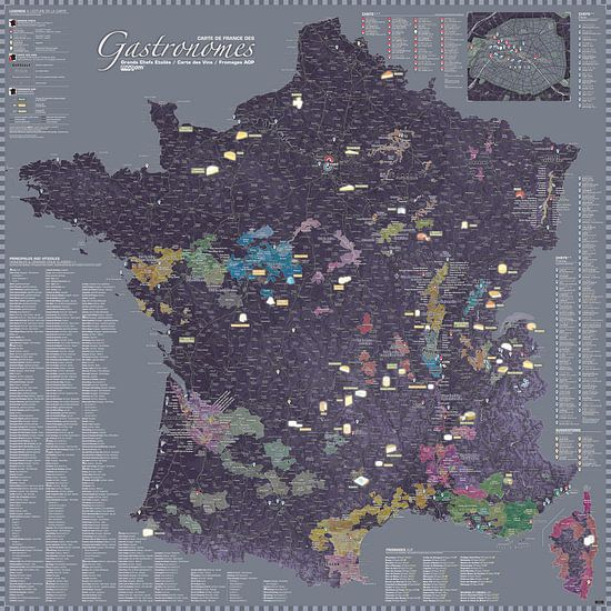 Carte de France des Gastronomes, couleur Aubergine