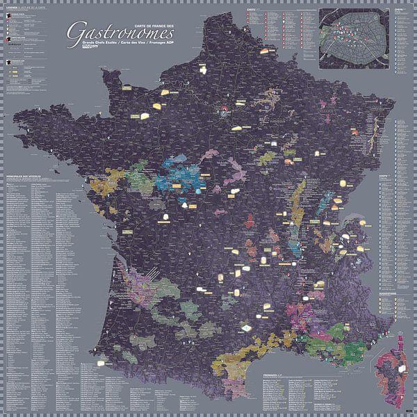 Carte de France des Gastronomes, couleur Aubergine sur MAPOM Geoatlas