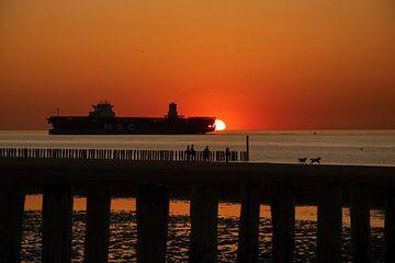 Sonnenuntergang Küste von Zeeland von Gelein Jansen