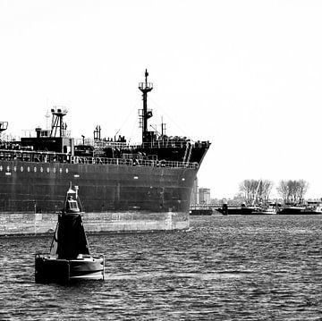 Seeschiffe auf dem Weg in den Hafen von Rotterdam. von scheepskijkerhavenfotografie