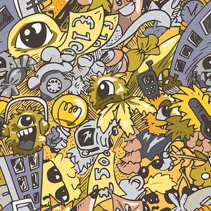 Hip Design Kunstwerk im Doodle-Stil mit Sommer-Thema von Emiel de Lange