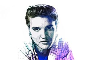 Elvis Presley Abstraktes Pop-Art-Portrait in Blauviolett