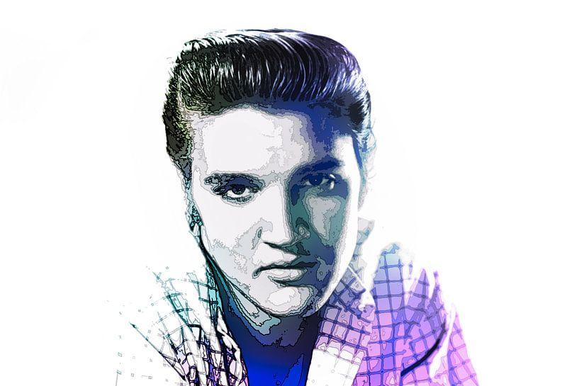 Elvis Presley Abstraktes Pop-Art-Portrait in Blauviolett von Art By Dominic