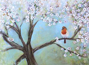zingend roodborstje in de lente ( singing robin) van Els Fonteine