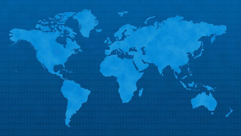 Blue Digital World van World Maps
