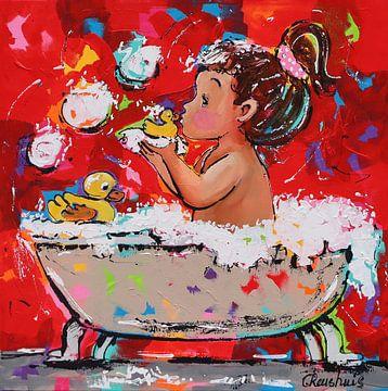 Ein schönes Bad von Vrolijk Schilderij