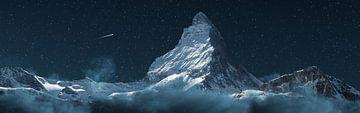 Panoramisch uitzicht Matterhorn-berg bij nacht van Besa Art