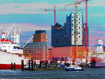 Hafenskyliine  mit Sonnenuntergang van Peter Norden