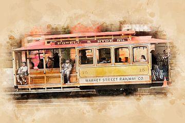 Historische tram in San Francisco van Peter Roder