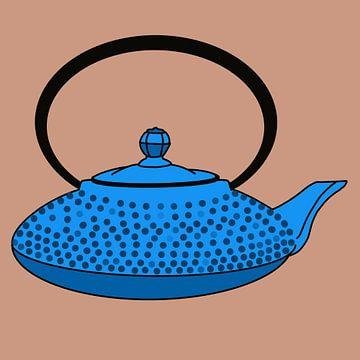 Blauwe gietijzeren theepot - Kambin
