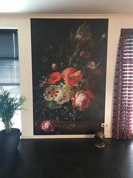 Kundenfoto: Stillleben mit Blumen auf einer Marmortischplatte,Rachel Ruysch