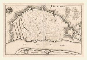 Plattegrond van Antwerpen met wit kader, anno ca 1705
