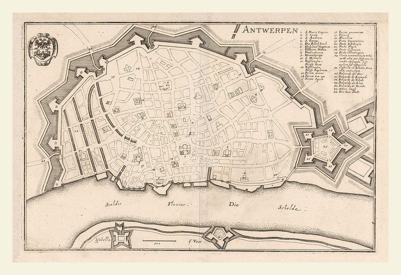 Plattegrond van Antwerpen met wit kader, anno ca 1705 van Gert Hilbink