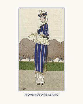 Promenade dans le parc - Boho, chic, Art Deco Fashion print van NOONY