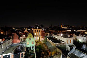 Uitzicht op Strosteeg en Oudegracht in Utrecht vanaf parkeergarage Springweg van Donker Utrecht