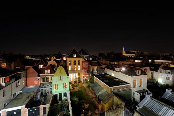 Uitzicht op Strosteeg en Oudegracht in Utrecht vanaf parkeergarage Springweg