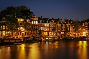 Hausboote an der Amstel in Amsterdam von Sabine Wagner