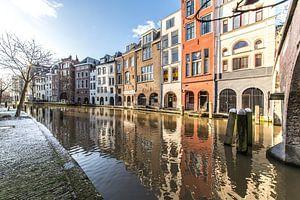 Oudegracht in Utrecht vanaf de werf bij de Maartensbrug (1) van