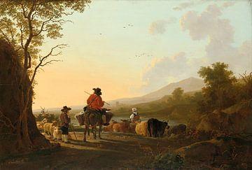 Landschaft mit Viehtreiber und Schäfer, Jacob van Strij