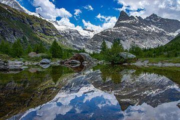Weerspiegeling Alpen in een bergmeertje sur Marc van Dijken