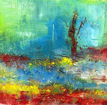 """Abstrakte Malerei  """" Lichtpunkte """" von Claudia Gründler"""
