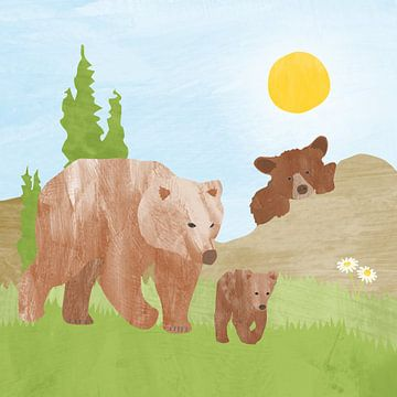 Ours avec bébé ours dans les montagnes sur Karin van der Vegt