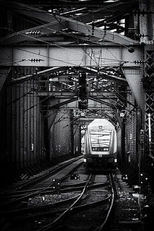 Zug auf einem Stahleisenbahnbrücke von Jan Brons