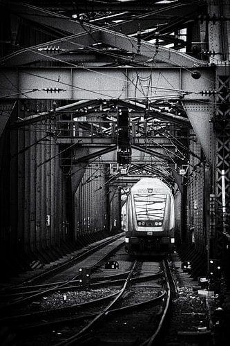Trein op een stalen spoorbrug van Jan Brons