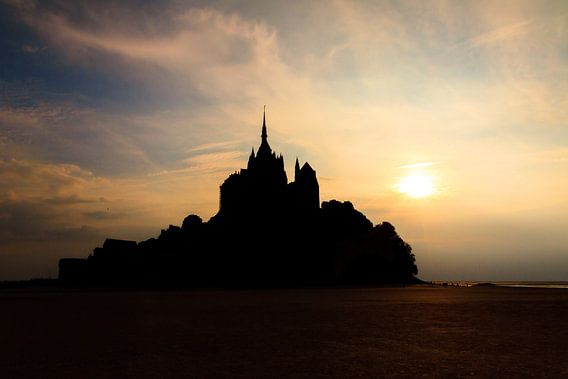 Mont Saint-Michel zonsondergang silhouet