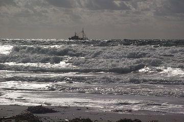 Zilverschittering schip op zee von Yvonne de Waal Malefijt