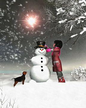 Kinderen Kunst- Amy and Buddy Bouwen aan een sneeuwpop van Jan Keteleer