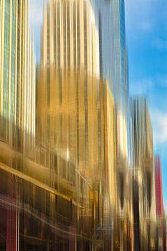 Mehrfachbelichtung Hochhaus Fassaden  mit U-Bahn Zug im Chicago Loop downtown  USA von Dieter Walther