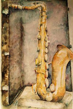 Saxofoon in een koffer. van Ineke de Rijk